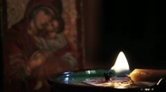 Candle and Icon Stock Footage