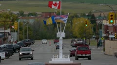 Alaska Highway Mile Zero Marker Stock Footage