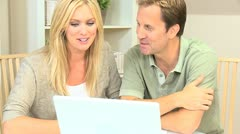 Caucasian Couple Happy with Their Financial Planning - stock footage