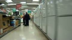 Travelling through a hypermarket Stock Footage