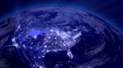 Earth from Space 01 Lightstreaks over USA Stock Footage