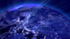 Earth from Space 03 Lightstreaks over Europe Stock Footage