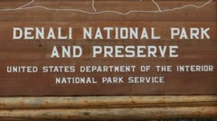 Denali National Park And Preserve Sign Stock Footage