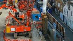 Construction on Crossrail Tunnel Bond Street site Stock Footage