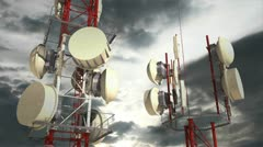 Communication Towers Clouds Timelapse 03 Stock Footage