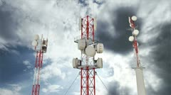 Communication Towers Clouds Timelapse 10 Stock Footage