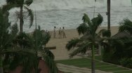 Hurricane Approaches People On Tropical Beach Stock Footage