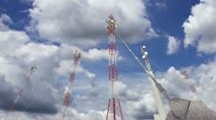 Communication Towers Clouds Timelapse 13 Stock Footage