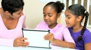 Cute Little African American Girls Playing Modern Tablet Stock Footage