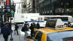 Taxis and street scene, Manhattan, New York, USA, T/lapse Stock Footage