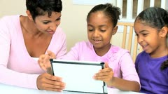 Young African American Girls with Wireless Tablet - stock footage