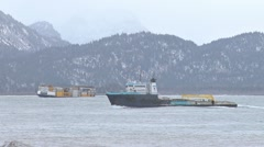 Utility Boat Passing Tug and Container Barge Stock Footage