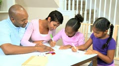 Little Ethnic Girls Coloring Pictures - stock footage