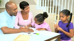 Little African American Girls Drawing Pictures - stock footage