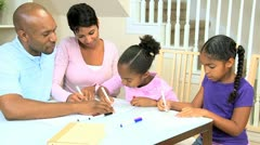 Little Ethnic Girls Using Coloring Pens Stock Footage