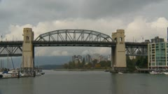 Burrard bridge, False Creek, Vancouver Stock Footage