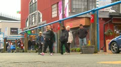 People at Granville island shopping Stock Footage