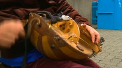 Hurdy gurdy being played by man, #3 Stock Footage