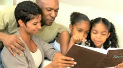 African American Family with Photograph Album - stock footage