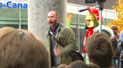 Protest, Occupy (Wall Street) Vancouver speech - stock footage