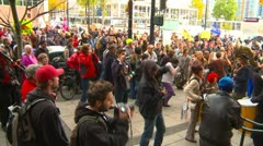 Protest, Occupy (Wall Street) Vancouver music cacophony Stock Footage