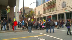 Protest, Occupy (Wall Street) Vancouver crowd wide - stock footage