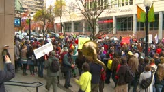 Protest, Occupy (Wall Street) Vancouver protest march - stock footage