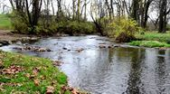 Stock Video Footage of Curved River Shot From Shore in Autumn
