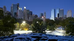 Manhattan and Central Park in the snow, New York, USA, T/lapse  Stock Footage