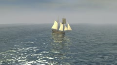 Sailboat Calm Sea 3 Stock Footage