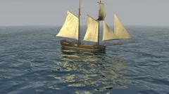 Sailboat Calm Sea Stock Footage