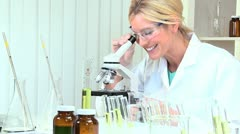 Female Research Assistant in Hospital Laboratory - stock footage