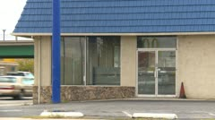 Bad economy, abandoned closed store in small town Stock Footage