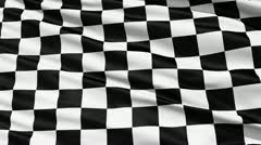 Stock Video Footage of fluttering black and white chequered flag