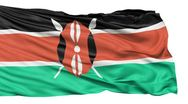 Flying flag of kenya Stock Footage