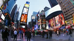 Stock Video Footage of Night time, Times Square, Manhattan, New York, USA, T/lapse
