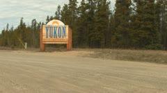 Welcome to Yukon Sign near Watson Lake Stock Footage