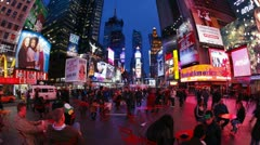 Neon lights Times Square, Manhattan, New York, USA, T/lapse Stock Footage