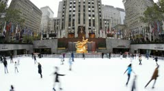 Ice rink Rockefeller Centre, Manhattan, New York, USA, T/lapse Stock Footage