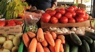 Open air market vegetables for sale Stock Footage