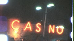 LAS VEGAS NEON LIGHTS Night Casino Gamble 1960 Vintage Film Home Movie1278 Stock Footage