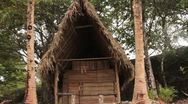 Thatch roof hut in Panama Stock Footage