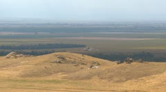 Agriculture, high above San Joaquin valley pan Stock Footage