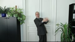 A man slaps triumphantly Stock Footage