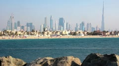 Jumeirah beach, Dubai downtown and Burj Khalifa, United Arab Emirates Stock Footage