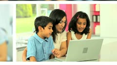 Montage of an Ethnic Family Using Wireless Technology Stock Footage