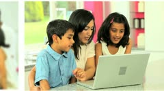 Montage Images of Young Ethnic Family Lifestyle Stock Footage