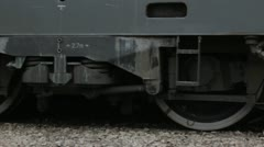 Stock Video Footage of Diesel locomotive departing (close up of the wheels)