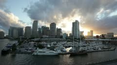Stock Video Footage of miami skyline sunset wide