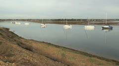 Salt Water Marsh and Boats at Hurst Spit Stock Footage